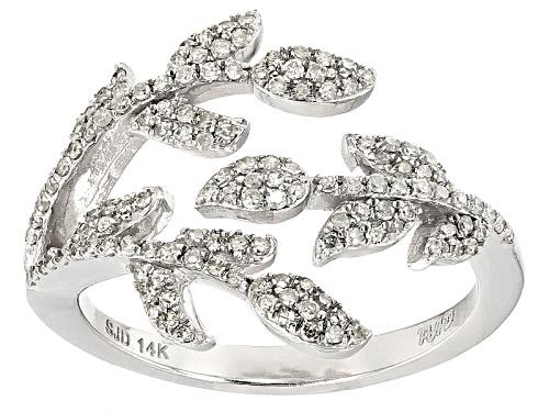 Photo of Park Avenue Collection® .40ctw Round White Diamond 14k White Gold Leaf Ring - Size 7