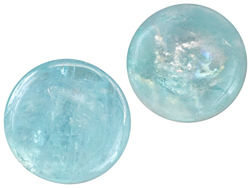 Photo of Set Of Two Brazilian Paraiba Tourmaline Avg .25ctw 3mm Round Cabochon