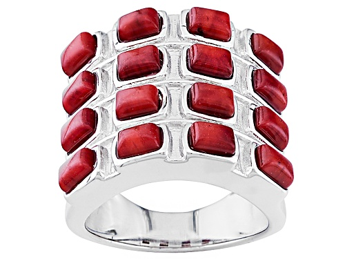 Photo of Pacific Style™ 4x3mm Baguette Cabochon Red Sponge Coral Sterling Silver Band Ring - Size 8