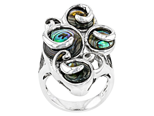 Photo of Pacific Style™ Oval Abalone Shell Sterling Silver 4-Stone  Ring - Size 5