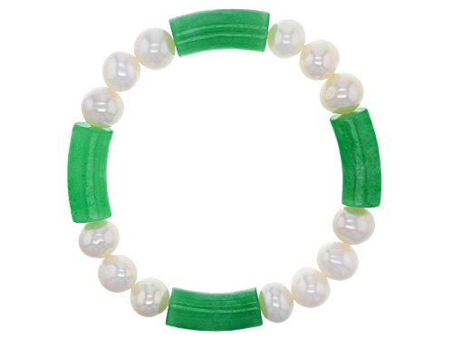 Photo of Pacific Style™ Green Jadeite And Cultured White Freshwater Pearl Stretch Bracelet - Size 7