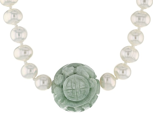 Photo of Pacific Style™18mm Carved Jadeite & 6-7mm Cultured White Freshwater Pearl Silver Necklace - Size 18
