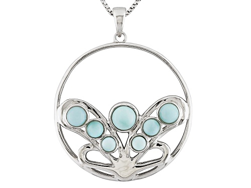 Photo of Pacific Style™ 3-5mm Round Cabochon Larimar Sterling Silver Cluster Circle Pendant With Chain