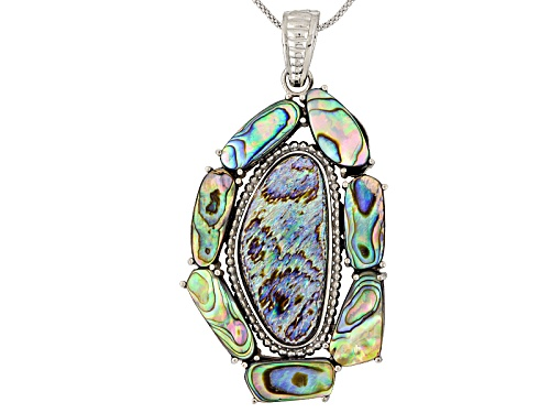 Photo of Pacific Style™ Free Form Abalone Shell Sterling Silver Enhancer With Chain