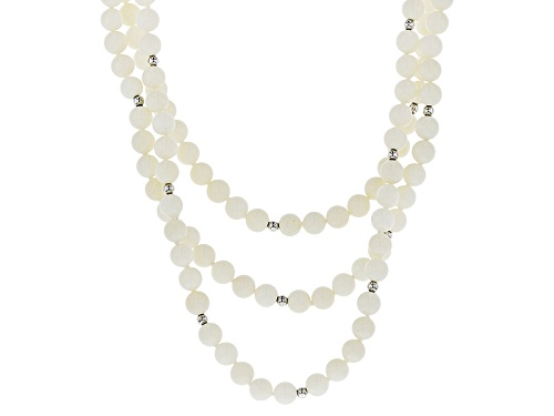 Photo of Pacific Style™ 6mm Round White Coral Three Strand Sterling Silver Rose Clasp Bead Necklace - Size 17