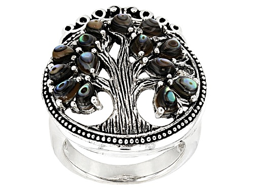 Photo of Pacific Style™ 4x3mm Pear Shape Abablone Shell Sterling Silver Tree Of Life Ring - Size 7