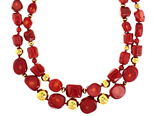 Photo of Pacific Style™ Approximately 6-15mm Mixed Red Coral 2-Strand 18k Gold Over Silver Bead Necklace - Size 18