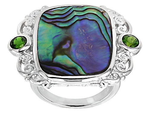 Photo of Pacific Style™ 21.7x16.7mm Rectangular Cushion Abalone Shell & .33ctw Chrome Diopside Silver Ring - Size 6
