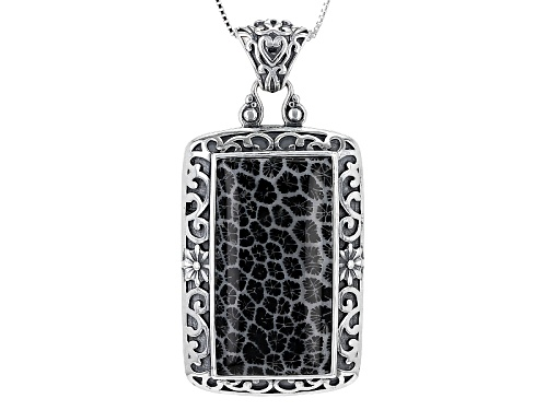 Photo of Pacific Style™ 35x18mm Indonesian Black Coral Sterling Silver Pendant With Chain
