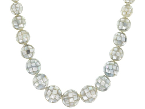 Photo of Pacific Style™ Graduated 12-20mm Round Mosaic Mother Of Pearl Bead, Sterling Silver Necklace - Size 18