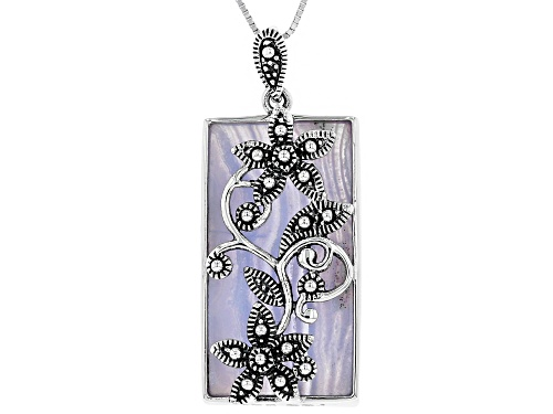 Photo of Pacific Style™ 33x17mm Rectangular Blue Lace Agate Silver Floral Overlay Pendant With Chain