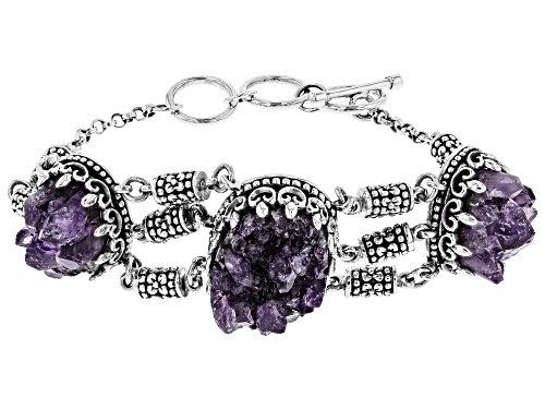 Photo of Pacific Style™ Oval Amethyst Geode Sterling Silver Toggle Bracelet - Size 8