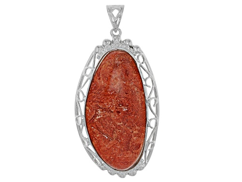 Photo of Pacific Style™ 40x20mm Fancy Shape Red Sponge Coral Rhodium Over Silver Pendant