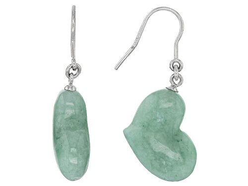 Photo of Pacific Style™ 20x14mm Heart Shape Jadeite Sterling Silver Dangle Earrings