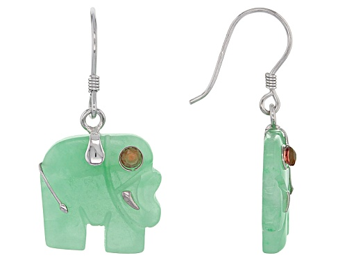 Photo of Pacific Style™ 15mm Carved Jadeite Elephant And .20ctw Red Garnet Sterling Silver Dangle Earrings
