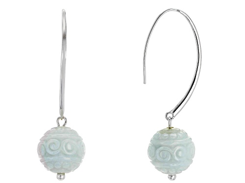 Photo of Pacific Style™ 14mm Round Carved Jadeite Bead Sterling Silver Earrings