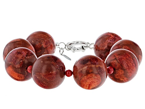 Photo of Pacific Style™ 20mm Round Red Sponge Coral And 5mm Round Red Bamboo Coral Silver Bead Bracelet - Size 8