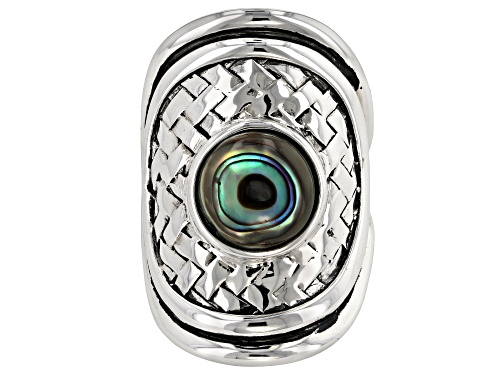 Photo of Pacific Style™ 10mm Round Abalone Shell Sterling Silver Basket Weave Ring - Size 9
