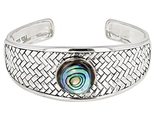 Photo of Pacific Style™ 18mm Round Abalone Shell Sterling Silver Basket Weave Cuff Bracelet - Size 8
