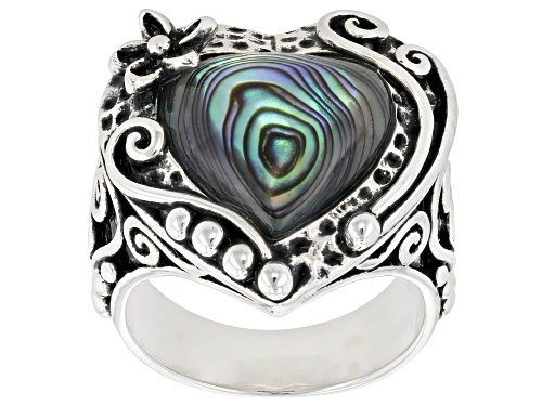 Photo of Pacific Style™ 13mm Heart Shape Abalone Shell Sterling Silver Solitaire Ring - Size 5