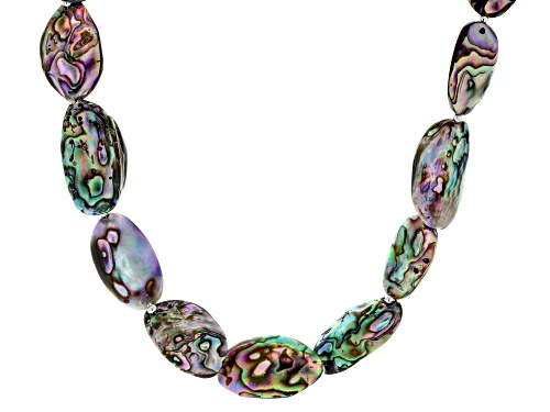 Photo of Pacific Style™ Custom Shape Abalone Shell Rhodium Over Silver Necklace - Size 18