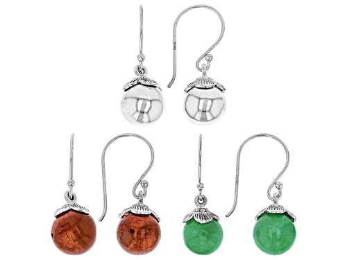 Photo of Pacific Style™ 10mm Round Jadeite, Coral, And Rhodium Over Silver Bead Earring Set Of Three