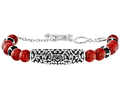 Photo of Pacific Style™ 8mm Round Red Coral Rhodium Over Sterling Silver Bead Bracelet. - Size 7.25