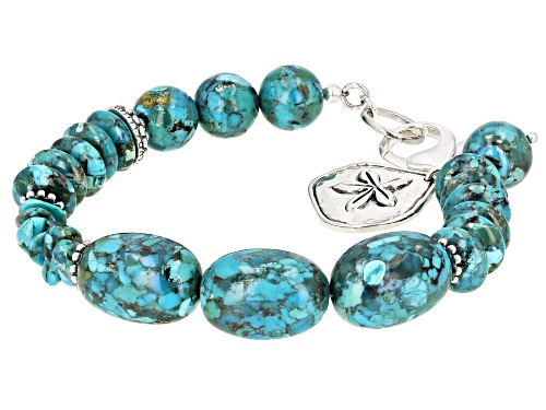 Photo of Pacific Style™ Mixed Shape Turquoise Beads Rhodium Over Sterling Silver Charm Bracelet - Size 8