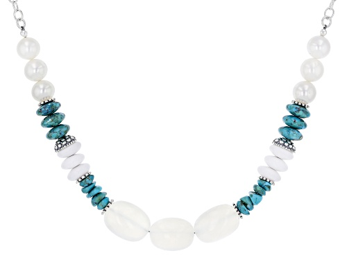 Photo of Pacific Style™Chalcedony,Turquoise,Cultured Freshwater Pearl, Quartzite Rhodium Over Silver Necklace - Size 20
