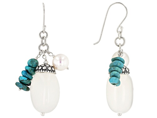 Photo of Pacific Style™ Chalcedony, Cultured Freshwater Pearl & Turquoise Rhodium Over Silver Earrings