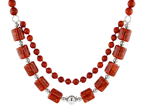 Photo of Pacific Style™ Tube Shape and Round Red Coral Rhodium Over Silver Bead Multi Strand Necklace - Size 18