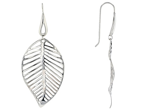 Photo of Pacific Style™ Rhodium Over Sterling Silver Leaf Earrings.