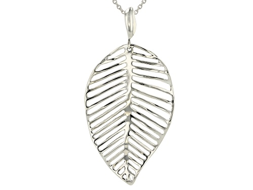 Photo of Pacific Style™ Rhodium Over Sterling Silver Leaf Pendant With Chain