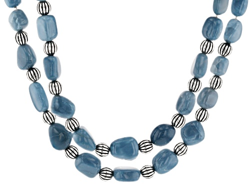 Photo of Pacific Style™ 7-10mm Free-Form Blue Opal Nugget Double Strand Sterling Silver Bead Necklace - Size 18