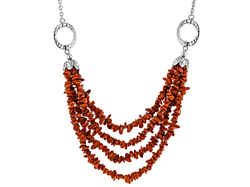 Photo of Pacific Style™ 3mm Free-Form Red Coral Chip, Rhodium Over Sterling Silver Four-Strand Necklace - Size 20
