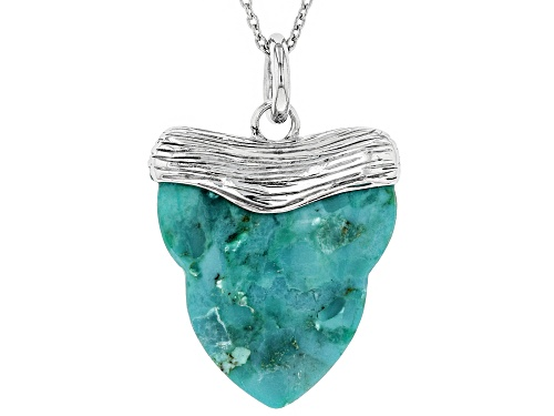 Photo of Pacific Style™  30x26mm Carved Turquoise Rhodium Over Silver Shark Tooth Inspired Pendant with Chain