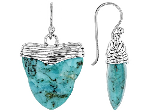 Photo of Pacific Style™  20x17mm Carved Turquoise Rhodium Over Silver Shark Tooth Inspired Dangle Earrings