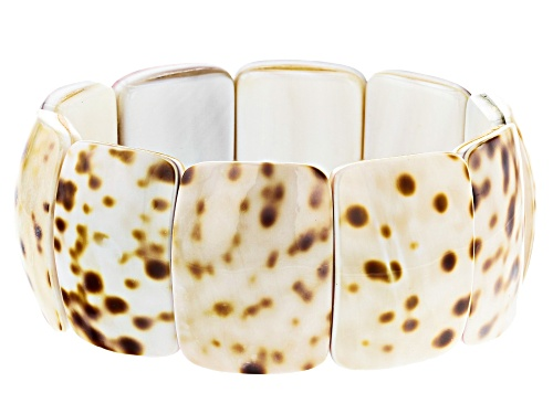 Photo of Pacific Style™ 20x30mm Rectangular Cushion Shell Stretch Bracelet