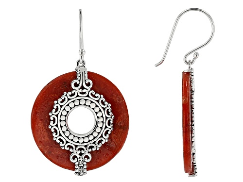 Photo of Pacific Style™ 30mm Round Red Coral Rhodium Over Silver Dangle Earrings