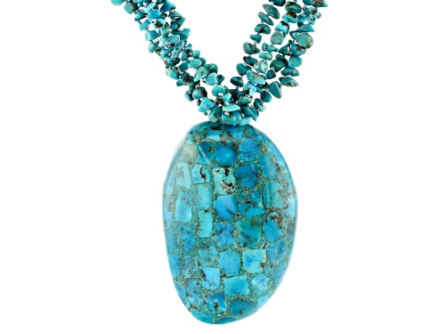 Photo of Pacific Style™ 3-7mm Free-Form Turquoise Chip With Mosaic Turquoise Over Abalone Shell Necklace - Size 20