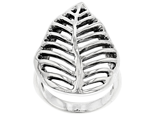 Photo of Pacific Style™ Rhodium Over Sterling Silver Open Leaf Design Ring - Size 7