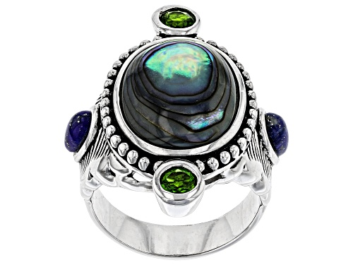 Photo of Pacific Style™ Abalone Shell, Lapis Lazuli & .58ctw Chrome Diopside Rhodium Over Silver Feather Ring - Size 7