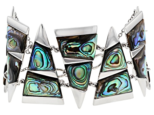 Photo of Pacific Style™ 22x14mm & 16x15.5mm Geometric Abalone Shell Slice, Rhodium Over Silver Bracelet - Size 8