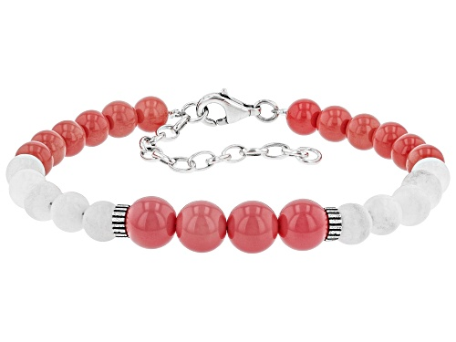 Photo of Pacific Style™ 6 & 8mm Pink Coral With 6mm White Agate Rhodium Over Sterling Silver Bead Bracelet - Size 7.5