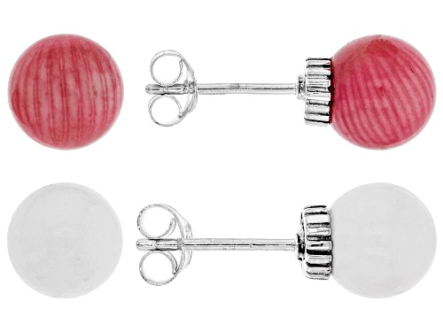Photo of Pacific Style™ 8mm Pink Coral & White Agate Beads, Rhodium Over Silver Stud Earrings, Set of 2 Pairs