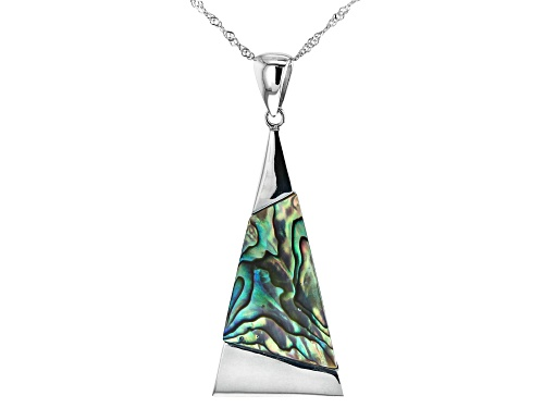Photo of Pacific Style™ 33x20mm Geometric Abalone Shell Inlay, Rhodium Over Sterling Silver Pendant W/Chain
