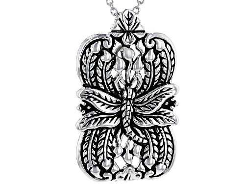 Photo of Pacific Style™ Dragonfly Design Rhodium Over Sterling Silver Pendant With Chain