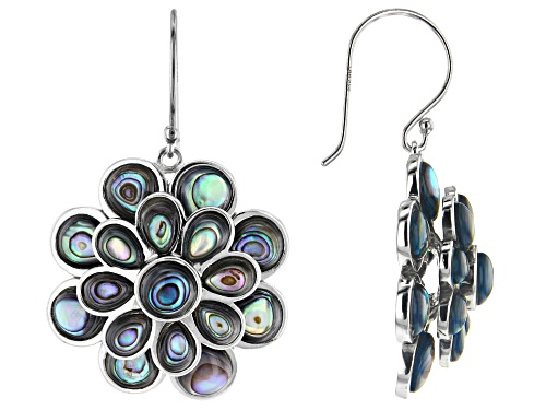Photo of Pacific Style™ 4-7mm Mixed Shape Abalone Shell Rhodium Over Sterling Silver Flower Dangle Earrings
