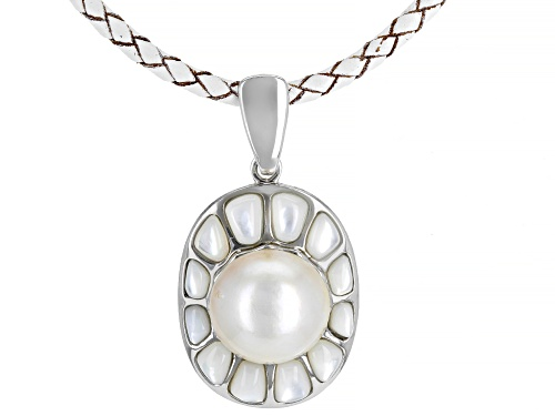 Photo of Pacific Style™ Mother of Pearl & Cultured Mabe Pearl Rhodium over Silver Enhancer and Leather Cord