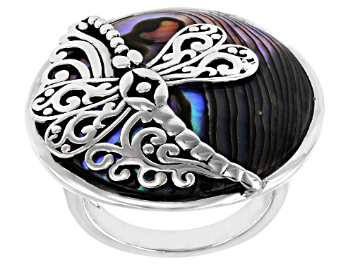 Photo of Pacific Style™ 25mm Round Abalone Shell with Dragonfly Rhodium Over Sterling Silver Ring - Size 8
